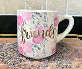 Lavender Scented Soy Candle in a Ceramic White with Pink Roses Friends Mug - Nature Land Candles