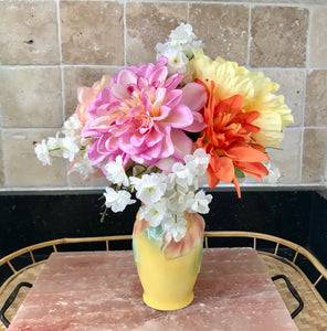 Floral Arrangement with Multi-Colored Silk Flowers in a Royal Copley Yellow Floral Vase - Nature Land Candles