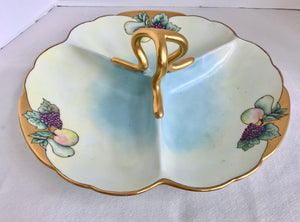 Fischer & Mieg of Pirkenhammer Hand Painted Gold Decorated Divided Platter - Nature Land Candles