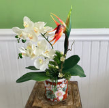 Floral Arrangement in Asian Red Ceramic Floral Bowl with White Orchids and a Dragon Flower - Nature Land Candles