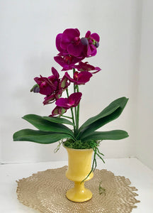 Silk Floral Arrangement with White Purple Silk Orchids, in a Yellow Art Deco Vase - Nature Land Candles