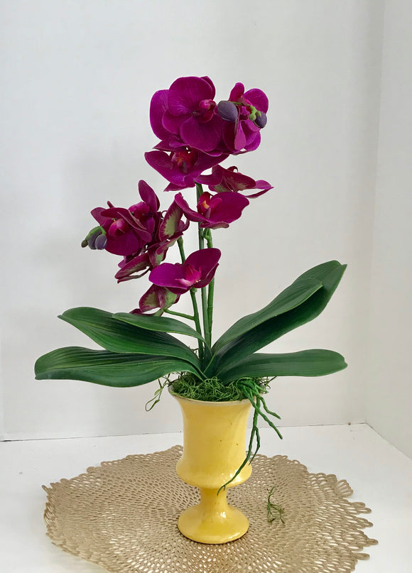 Silk Floral Arrangement with White Purple Silk Orchids, in a Yellow Art Deco Vase