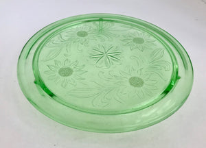 "Jeanette Green Daisy Pattern 10"" Glass Cake Stand - Nature Land Candles"