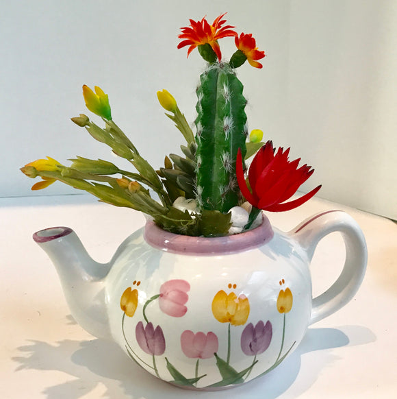 Tulip Teapot Planter with Green Grass Succulents and Cactus