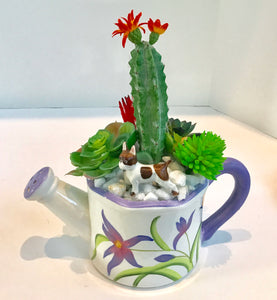 Purple Flower with Butterflies Pitcher Planter Green Succulents Cactus Porcelain Dog - Nature Land Candles