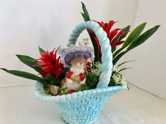 Floral Arrangement With Red Bromeliads, Cute Squirrel in a Blue Ceramic Basket - Nature Land Candles
