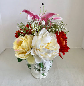 Floral Arrangement with Multi-Colored Silk Flowers in a White Pitcher with Butterflies - Nature Land Candles