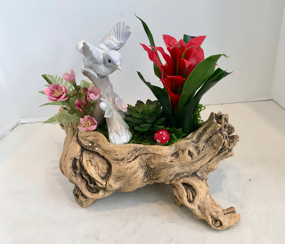 Tropical Planter in Wood Log with Red Bromeliad and Porcelain Bird