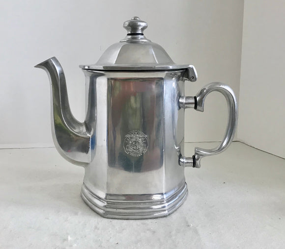 Wilton Columbia Queen Anne Large Pewter Hexagonal 8 Cup Coffee Pot with Missouri State Seal