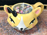 Candle Lavender Scented Soy Candle in a Ceramic Yellow Cat Mug - Nature Land Candles