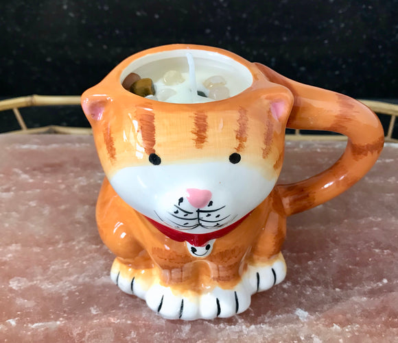 Jasmine Scented Soy Wax Aroma Therapy Candle in Brown Cat Coffee Mug - Nature Land Candles