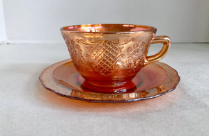Federal Glass Normandie Pattern Marigold Orange Iridescent Carnival Glass Cup and Saucer - Nature Land Candles
