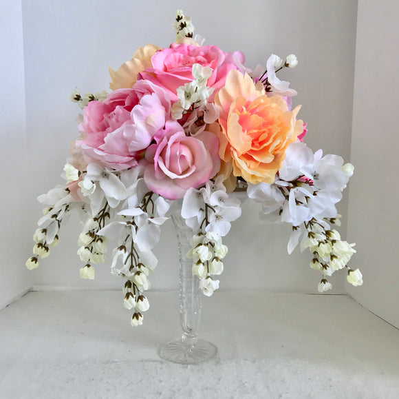 Floral Arrangement Centerpiece with Multi-Colored Silk Flowers in a Cut Glass Vase - Nature Land Candles
