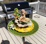 Repurposed Garden Yard Art with Cherub on Porcelain Roses & Frog - Nature Land Candles