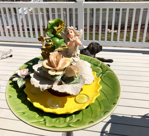 Repurposed Garden Yard Art with Cherub on Porcelain Roses & Frog