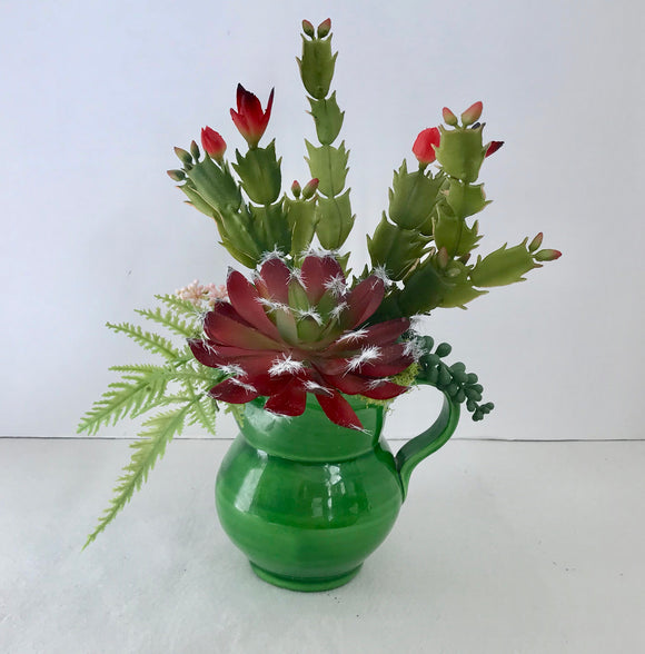 Decorative Planter Christmas Cactus & Purple Cactus With Grass Succulents in Green Pitcher - Nature Land Candles
