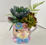 Decorative Planter Purple and Green Grass Succulents in Bunny Head Coffee Mug - Nature Land Candles