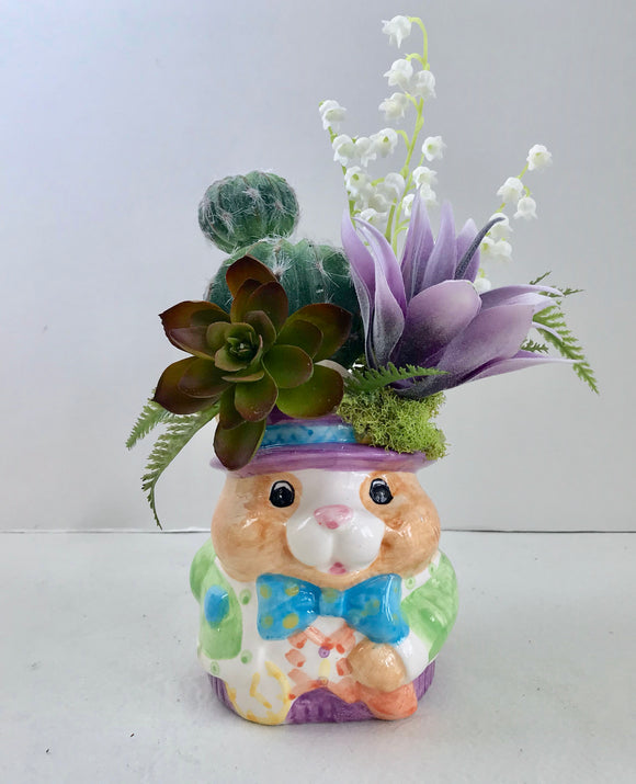 Decorative Planter Cactus, Purple and Green Grass Succulents Bunny Coffee Mug - Nature Land Candles
