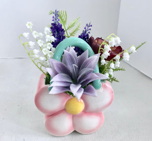 Decorative Planter Purple Grass Succulents and Flowers in Ceramic Flower Basket - Nature Land Candles