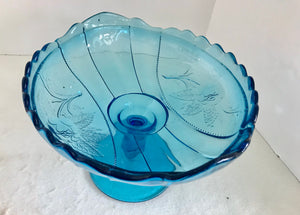 Aqua Blue Glass Oval Roses Pedestal Compote - Nature Land Candles