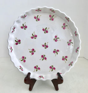 "Made in England 10"" White Quiche/Pie Plate with Purple Flowers and Crimped Edges - Nature Land Candles"