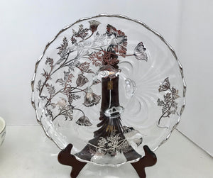 "Silver City Glass 11"" Flanders Poppy Crystal over Silver Overlay Three Footed Bowl"