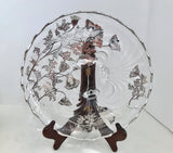 "Silver City Glass 11"" Flanders Poppy Crystal over Silver Overlay Three Footed Bowl - Nature Land Candles"