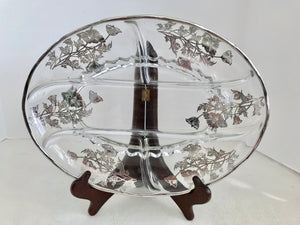 "Silver City Glass 13"" Flanders Poppy Sterling Silver on Crystal Divided Oval Relish Dish - Nature Land Candles"