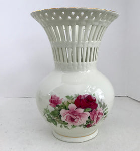 "Formalities by Baum Brothers 9 1/2"" Rose Lattice Vase - Nature Land Candles"
