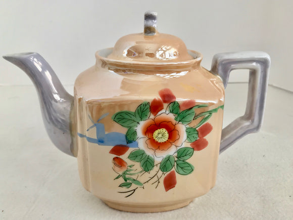 Lusterware Japan Orange and Blue Hand Painted Floral 4 Cup Teapot
