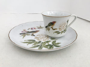 Shafford Chinese Garden Peony Flower and Bird 8 Oz Coffee Cup & Round Snack Tray - Nature Land Candles