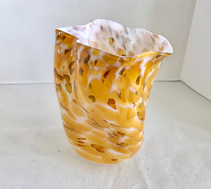 "Murano Stye Free Form 9"" Yellow and White Handkerchief Vase - Nature Land Candles"