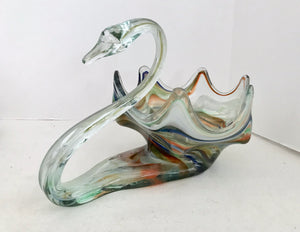 Sooner/Ozark Blown Art Glass Swirl Cornucopia/Centerpiece Swan Bowl