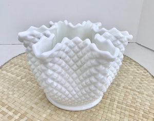 "Westmoreland White Milk Glass 5 1/4"" English Hobnail Handkerchief Vase - Nature Land Candles"