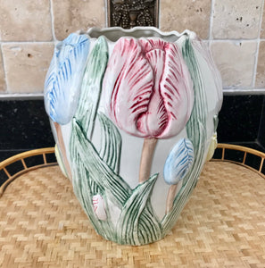 "Fitz and Floyd 1989 10"" Pastel Colored Tulip Vase - Nature Land Candles"