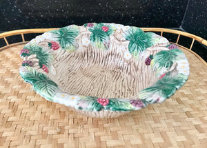 "Fitz and Floyd 1990 Wild Raspberries 8 1/2"" Serving Bowl - Nature Land Candles"