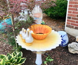 Garden Bottle Art with Milk Glass Vase Yellow Sunflower Bowl Angel Swans - Nature Land Candles