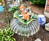 Garden Bottle Art with Puppy and Kitten on a Green Leaf Plate - Nature Land Candles