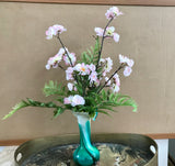 Silk Floral Arrangement Murano Style Vase With Artificial Pink and White Cherry Blossoms and Ferns - Nature Land Candles