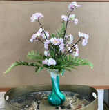 Silk Floral Arrangement Murano Style Vase With Artificial Pink and White Cherry Blossoms and Ferns