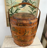 "Antique 19"" Chinese Bamboo and Wood 1800s Lunch/Wedding Box with Chinese Boy Signed by Li Susan - Nature Land Candles"