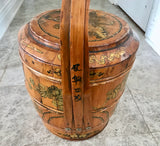 "Antique 21"" Chinese Bamboo and Wood 1858 Wedding Basket with Chinese Lady - Nature Land Candles"