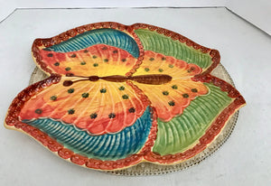 "Italica ARS Hand Painted Studio Art Large 15"" Colorful Butterfly Platter - Nature Land Candles"