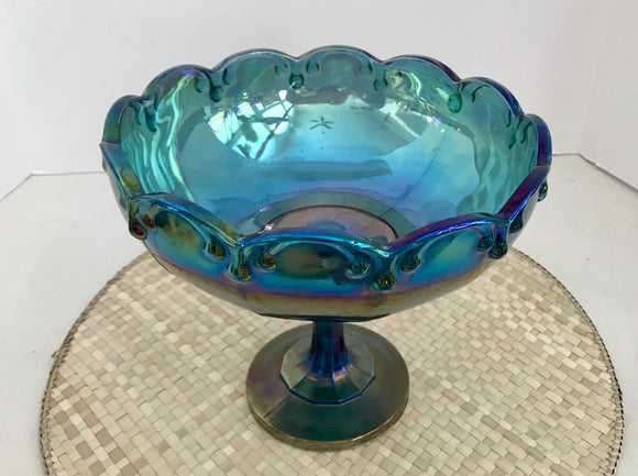 Indiana Glass Blue Iridescent Garland Carnival Glass Footed Bowl/Compote - Nature Land Candles