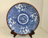 "Antique Igezara Ware Meiji Period 12"" Blue and White Transferware Imari Charge Plate - Nature Land Candles"
