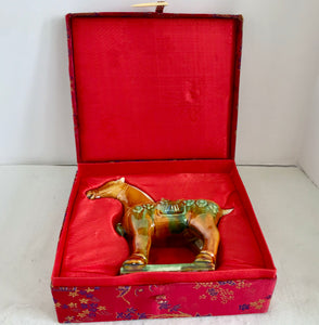"Chinese Drip Glaze Pottery 6 1/2"" War Horse With Presentation Box - Nature Land Candles"