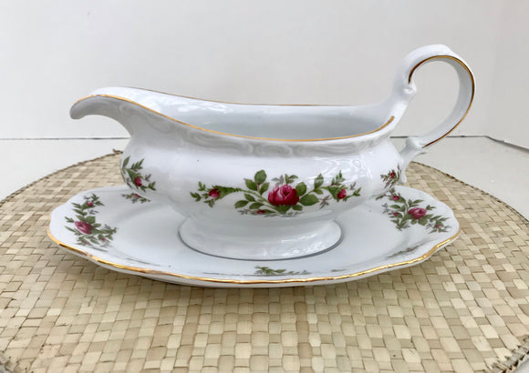 Johann Haviland Traditions Fine China Moss Rose Gravy Boat with Under Plate - Nature Land Candles
