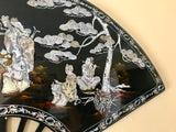 "Mother Of Pearl Abalone Shell Black Lacquer Inlay Art Numbered Large 39"" Wall Art Fan"