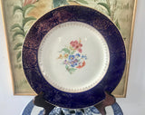 "Homer Laughlin K42 N4 Cobalt Blue Boarder With Filigree 22 Gold and Flowers 11"" Dinner Plate - Nature Land Candles"