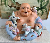 "Seated Fine Chinaware 10 1/2"" Laughing Buddha with Blue Pants and 5 Children - Nature Land Candles"